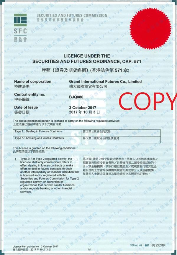 远大国际期货香港证监会牌照